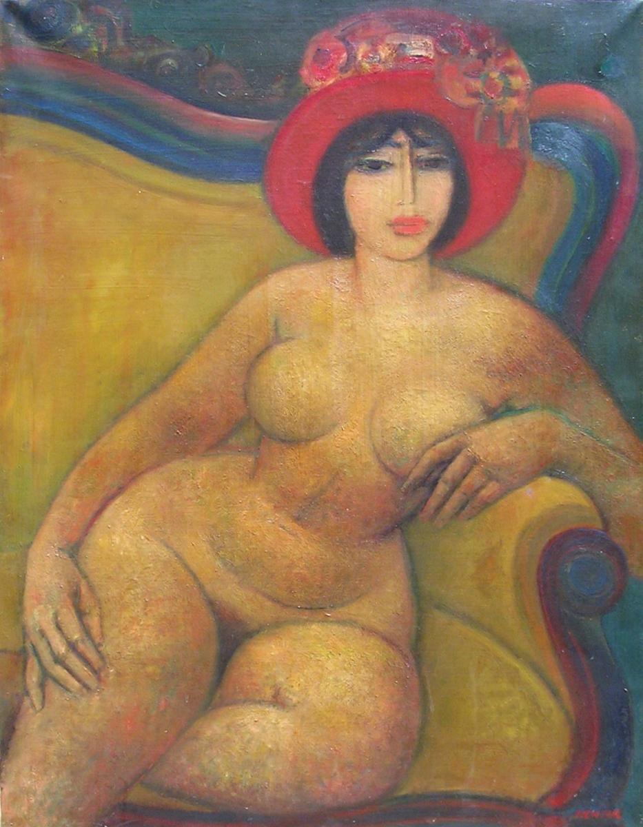 01- Nu au canapé, 1959, huile sur toile, 116 x 89 cm, Coll. Univers Mentor, Solliès-Toucas
