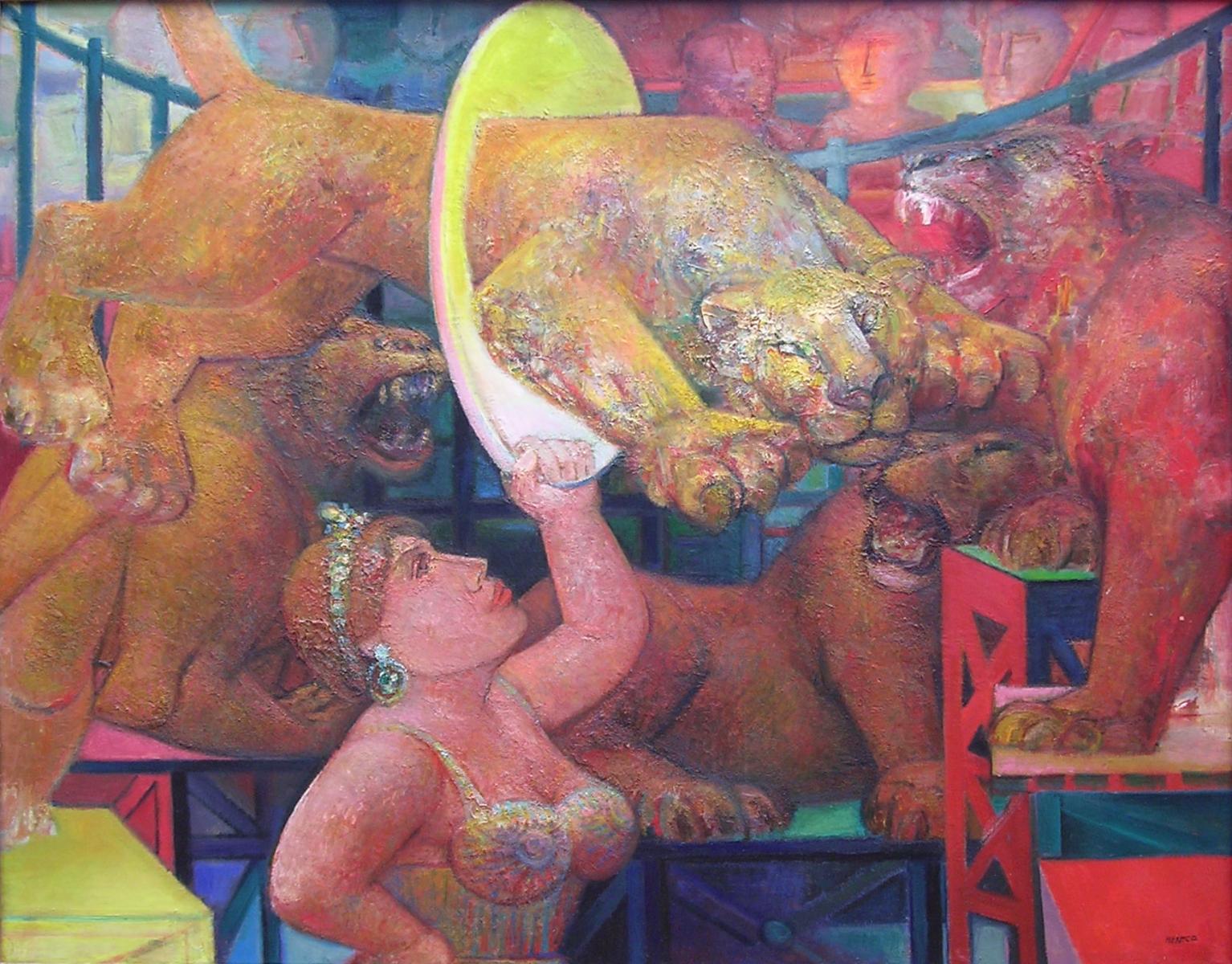 02- Dompteuse, 1959, huile sur toile, 130 x 160 cm, Coll. Univers Mentor, Solliès-Toucas