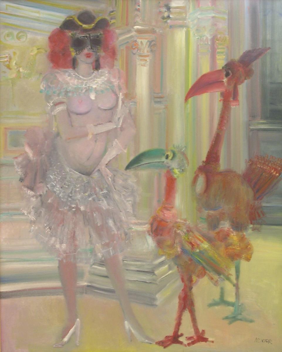 09- La Femme à Loiseau, Curiosité, 1985, huile sur toile, 162 x 130 cm, Coll. Univers Mentor, Solliès-Toucas