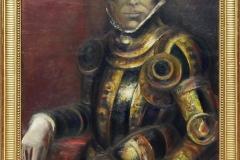 05- Portrait costumé (Autoportrait en conquistador), 1969, huile sur bois, 116 x 87,5 cm, Coll. Univers Mentor, Solliès-Toucas
